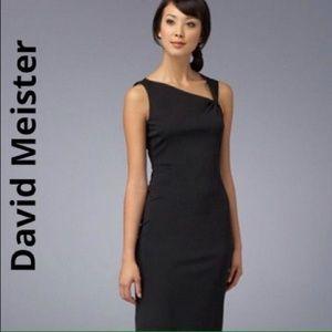 Chic David Meister asymmetrical overlay dress